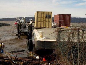 Runaway barge destroys pier of Irvington Boat and Beach Club